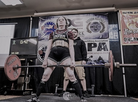 National Record deadlift 220.5 lbs.
